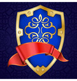 gold shield with ribbon vector image vector image