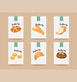 hand drawn bread mock up set vector image