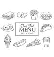 hand drawn icons fast food vector image vector image