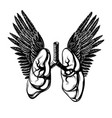 hand drawn realistic lungs with wings isolated vector image vector image