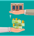 hand holding shop or commercial property with key vector image vector image