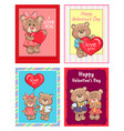 happy valentines day i love you set of poster bear vector image vector image