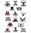 Ice hockey sport icons and symbols vector image vector image