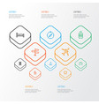 journey outline icons set collection of building vector image vector image