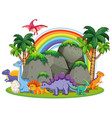 many dinosaur in nature vector image vector image