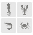 monochrome icons set with seafood vector image