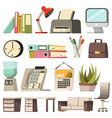 office orthogonal icon set vector image vector image