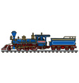 Old blue american steam locomotive vector image vector image