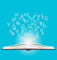 open book and letters concept study and vector image