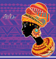 portrait of african woman in ethnic turban vector image vector image