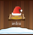 red santa hat with paper banner and vector image