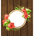Round banner with red tropical flowers vector image vector image