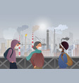 sad and unhappy people wearing protective face vector image vector image