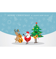 santa claus snowman reindeer playing music vector image vector image