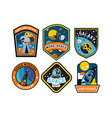 set abstract and futuristic space badges vector image