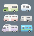 set different types camping vector image vector image