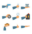 set of auto service maintenance icons with hands vector image vector image