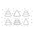 set of black and white blank christmas trees vector image vector image