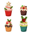 set of cupcakes and muffins vector image