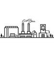 skyline factory industry black and white line vector image