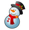 snowman in a red scarf and black cylinder hat vector image vector image