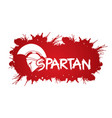 spartan warrior helmet with font and blood graphic vector image