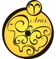 stylized zodiac signs in a yellow circle aries vector image