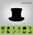top hat sign black icon at gray vector image vector image
