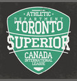 Toronto canada sportswear emblem in shield form