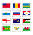 Twelve Countries Flags on Metal Texture Plates vector image vector image