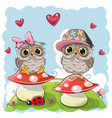 two cute cartoon owls on mushrooms vector image vector image