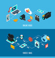 video streams isometric banners vector image vector image