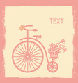 vintage card with old style bicycle silhouette vector image