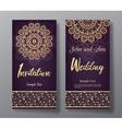 Wedding invitation card with arabic mandala vector image vector image
