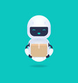 white friendly android robot holding a parcel vector image vector image