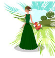 woman with bouquet of peonies vector image vector image