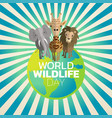 world wildlife day logo icon design vector image vector image
