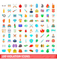 100 violation icons set cartoon style vector image vector image