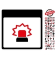 Alert Calendar Page Flat Icon With Bonus vector image vector image