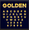 Alphabetic fonts Gold letter with numbers EPS10 vector image vector image