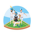 baseball players teamwork in professional vector image vector image