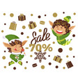 best christmas sale elves with present boxes vector image vector image