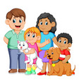 big family with pets vector image vector image