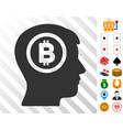 bitcoin thinking head icon with bonus vector image vector image