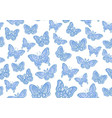 blue butteflies on white background seamless vector image vector image