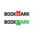 book store shop logotype as bookmark logo vector image vector image