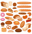 cartoon bread and cakes bakery wheat products vector image vector image