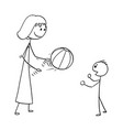 cartoon of mother playing with ball with son vector image vector image