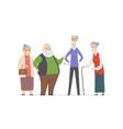 cheerful senior people - set cartoon characters vector image vector image
