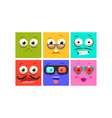 collection colorful faces with different vector image